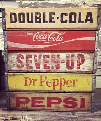 5 Vintage Wood Soda Crate Lot Pepsi Coke Fresh Up 7up & Dr Pepper Double Cola