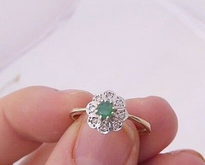 9ct/9k gold Diamond & Emerald Art deco design ring, 375