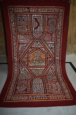 Vintage Embroidered Wall Hanging Patchwork Sari Tapestry 53 AU