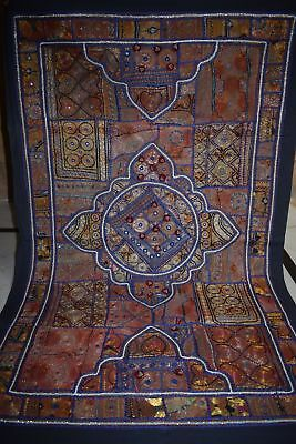 Antique INDIAN PATCHWORK TAPESTRY WALL HANGING KATCHI Mirror009 AU