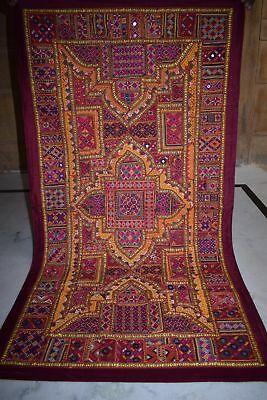Vintage Embroidered Wall Hanging Patchwork Sari Tapestry AU