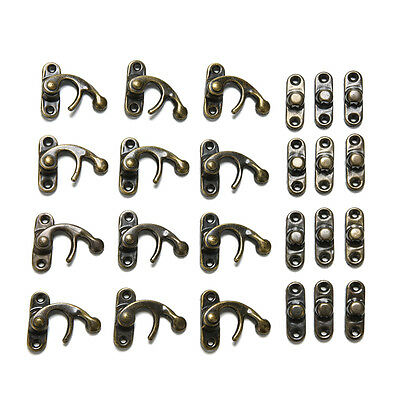 12X Padlock Hasp Hook Horns Antique Metal Jewelry Box Buckle Shackle Lock  TSCA