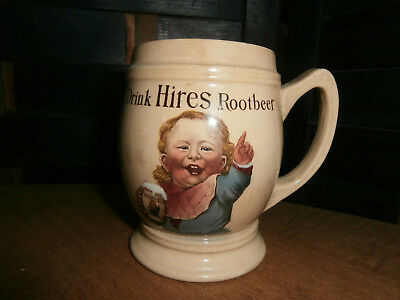 1890s HIRES ROOT BEER VILLEROY & BOCH ADVERTISING STONEWARE MUG THE UGLY BOY