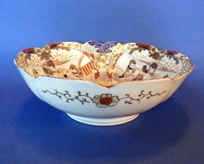 Nippon Satsuma - Large Bowl - Hand Painted Red Blue And Gold With Child Motif