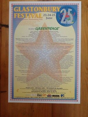 GLASTONBURY FESTIVAL POSTER A3 1970 to 1995 25 years Anniversary..rare Issue.