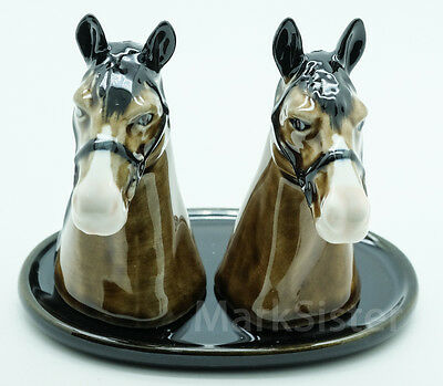 Figurine Animal Statue Salt Pepper Shaker Horse Brown with Tray - FSP019