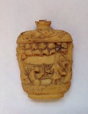 """Old Asian Snuff Bottle 2 1/2"""" Tall Damaged"""