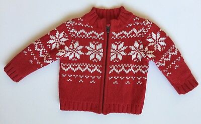 Carters Boys 6 Months Red White Fair Isle Zipper Sweater Holiday Christmas