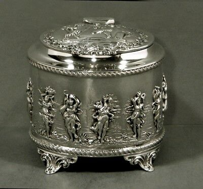 """English Sterling Tea Caddy      1899 Thomas Hayes      """"CLASSIAL FIGURES"""""""