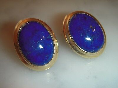 A Stunning Pair Of Large 10 Ct Gold Art Deco Oval Lapis Lazuli Earrings