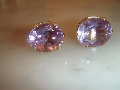 A Beautiful Pair Of 14 Ct Gold Oval 10.00 Carat Amethyst Earrings