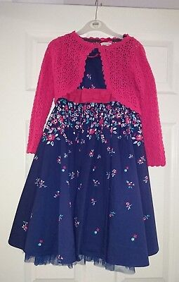 Millie Girl's Navy Flower Dress/pink Cardigan 2 Pc Set Age 6  Good Condition!