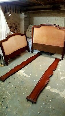 Antique French Mahogany upholstered Double Bed
