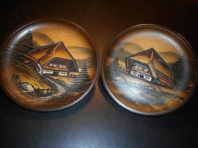 """A Pair Of Vintage Hand Carved Hand Painted, German 4 3/4"""" Folk Art Wooden Plates"""