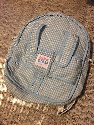 Baby Doll: Dollcare Accessories Quilted Blue/White Backpack Carrier - EUC