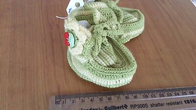 Green Woolen baby booties cosy Christmas present for new born