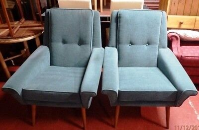 pair of Retro Vintage Mid Century Armchairs immaculate condition on teak legs