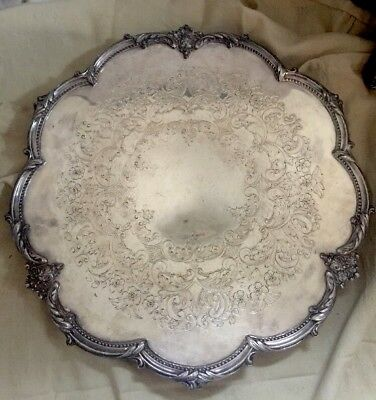 """Vintage Round 16"""" Ornate Silver Plated Tray Platter Footed C S Crown Tea Party"""