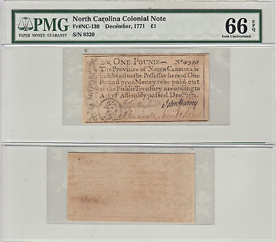 December 1771 1 Pound Colonial Currency F-NC-139  PMG Gem Uncirculated-66 EPQ