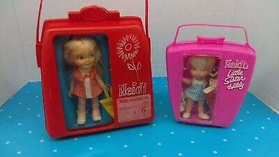 2-Vintage Remco Heidi & Little Sister Hildy In Cases With Lots Of Accessories