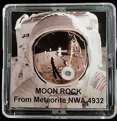 AUTHENTICATED LUNAR METEORITE- Deluxe 12mg Moon Rock & Art Display with Easel  a