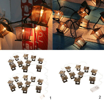 Retro LED Metal House String Fairy Light Christmas Decorative Lamp Warm White