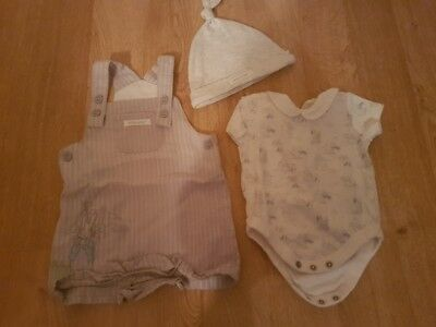 Peter Rabbit Dungarees and Vest 0-3 months Baby Mothercare