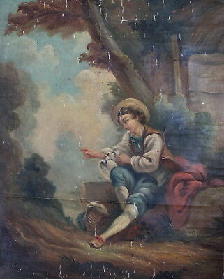 Antique 19th Century French Old Master 25 x 30 in Oil Painting Boucher Romantic