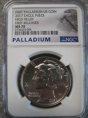 2017 1 Oz. Palladium Eagle $25 High Relief-NGC MS70 First Releases