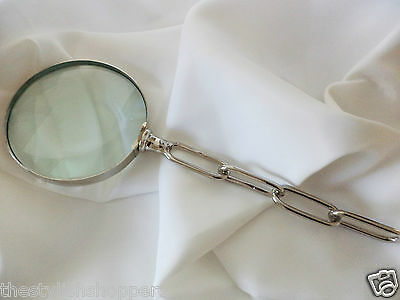 Designer Comtemporary MAGNIFYING GLASS  Silver Hardware Chain Design RRP £49 NEW