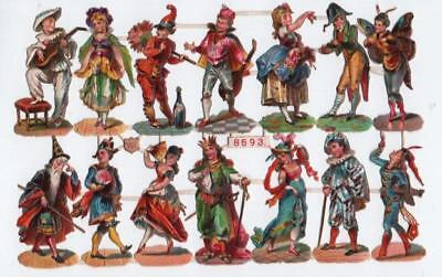 Victorian Die Cut Relief Scrap Sheet. Musicians, Dancers etc. W.Hagelberg #8693
