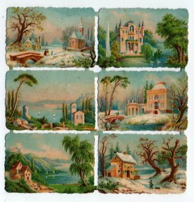 Victorian Die Cut Relief Scrap Sheet. 6 Continental views, large houses, water
