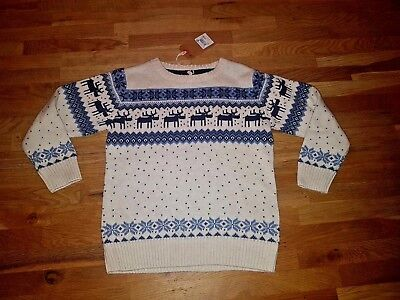 Boys Next Cream Navy Christmas Reindeer Jumper , 4-5 years, Brand New with Tags