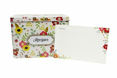 Light Metal Recipe Box Set With 100 Recipe Cards  10 Blank Dividers | Holds Up