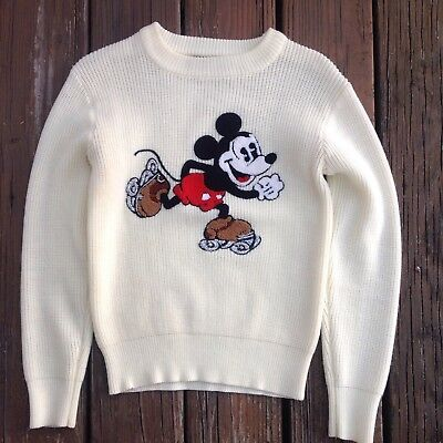 Vtg Mickey Mouse Kid Sweater Walt Disney Productions American Characters 80s 90s