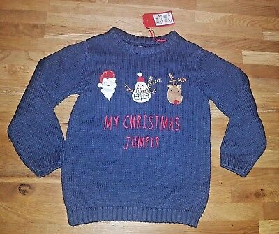 Boys Next Navy My Christmas Character Jumper, 4-5 years, Brand New with Tags