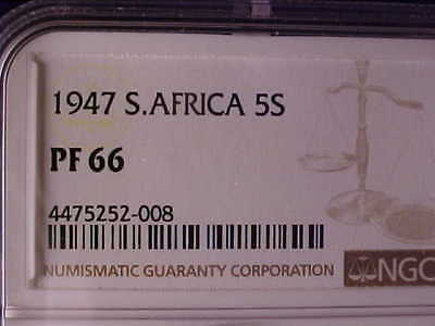 South Africa Crown 1947 Ngc Proof 66, Highly Toned