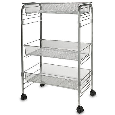 3 Tier Mesh Rolling Storage Cart with Baskets, Office File Utility Cart on Wheel