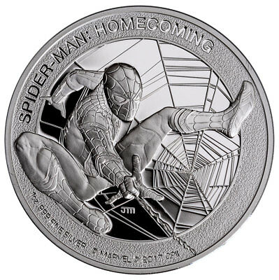 2017 Cook Islands Marvel Spider-Man Homecoming 1 oz Silver Proof $5 OGP SKU48298