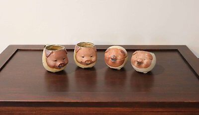 Christmas Sale! 4 Vintage UCTCI Style Smiling Pigs Pottery, Japan, Stoneware