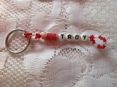 Boys Or Men's Red Personalized Keychain Or Zipper Pull With The Name Troy-New