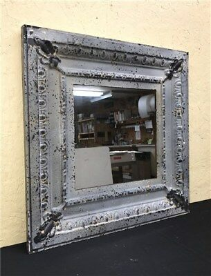 """24"""" Square Ceiling Tin Mirror Rustic French Country Shabby Chic Decor Art b"""