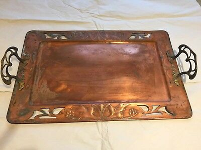 Antique WMF Art Nouveau Copper And Brass Tray
