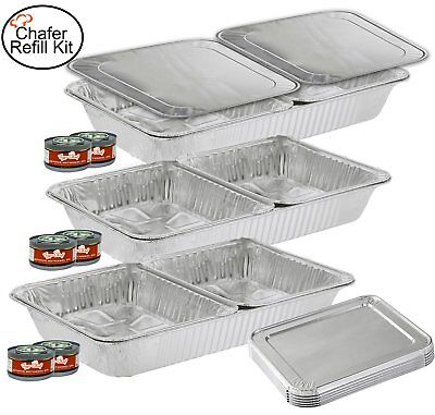 TigerChef TC-20519 Chafer Pans Set, Includes 3 Full Size Aluminum Steam Table