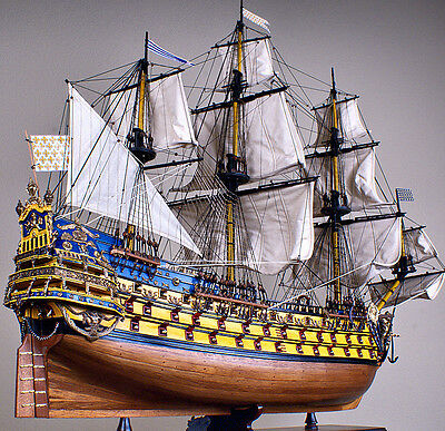 """SOLEIL ROYAL 37"""" large scaled wood model ship historic French tall sailing boat"""