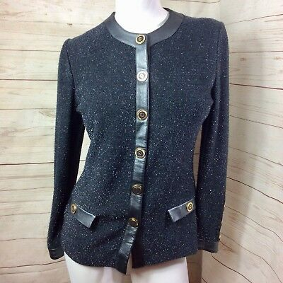 St John Collection By  Marie Gray Black Shimmer Leather Trim Jacket Blazer 4