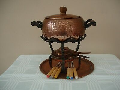 SWISS HAMMERED COPPER STOCKLI-NETSTAL FONDUE SET + STAND, TRAY, 6 FORKS. H 23cm