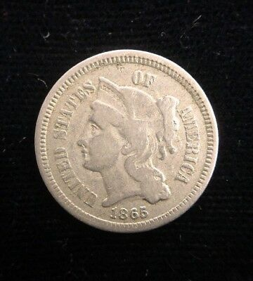 1865 3 Cent Nickel Early American Collectible Coin