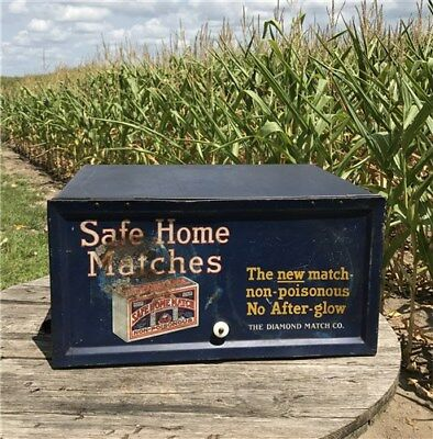 Safe Home Matches Metal Wood Countertop Store Display Case Vintage Advertising
