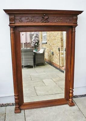 Very large Victorian ornate carved Oak over mantel mirror (154Hx113W) - VGC